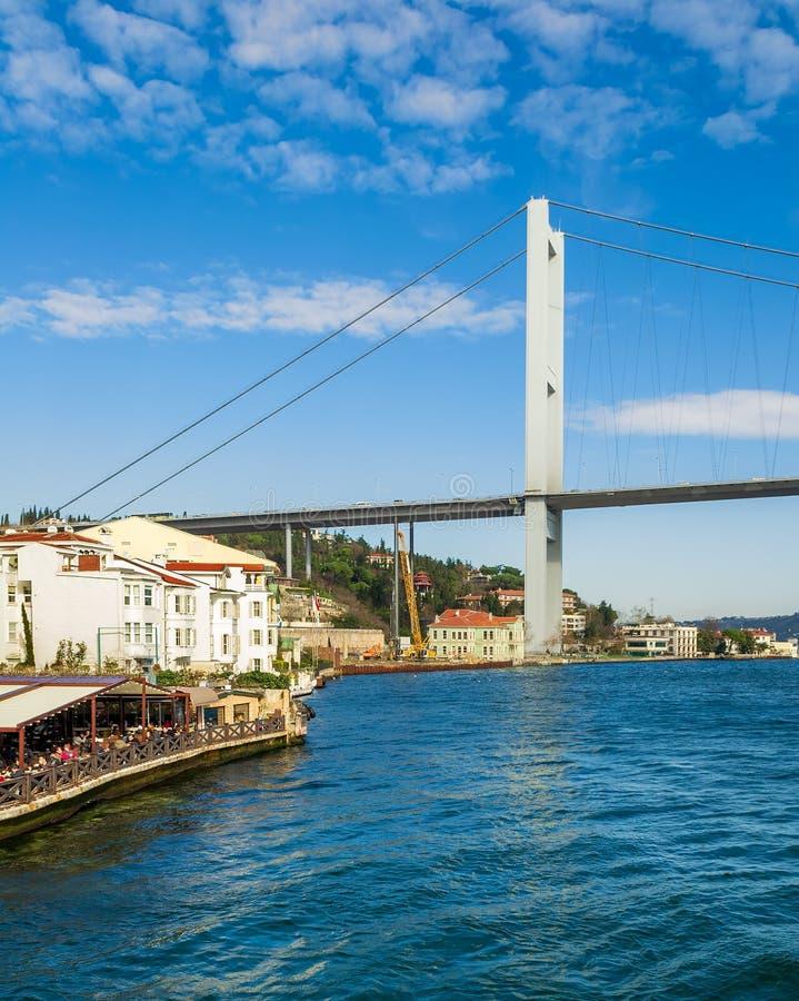 Bosporus Bridge和Beltash Cafe咖啡馆,Ortakoy,土耳其伊斯坦布尔 库存照片