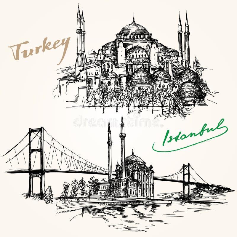 Bosporus most Istanbuł, Turcja royalty ilustracja