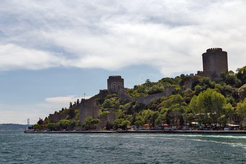 Bosporus-Seeansicht der Zitadelle, Festung Schloss Rumelian, im Freien stockfotos