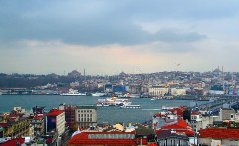 Bosporus-Straße und Istanbul, die Türkei lizenzfreies stockfoto