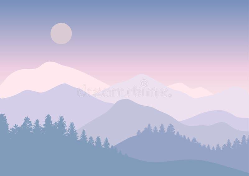 Bosque abstracto de la montaña en paisaje brillante del cielo con las siluetas del árbol Ilustración del vector Cartel del viaje stock de ilustración