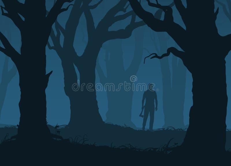 Bosque asustadizo con los árboles viejos y hombre con un hacha stock de ilustración