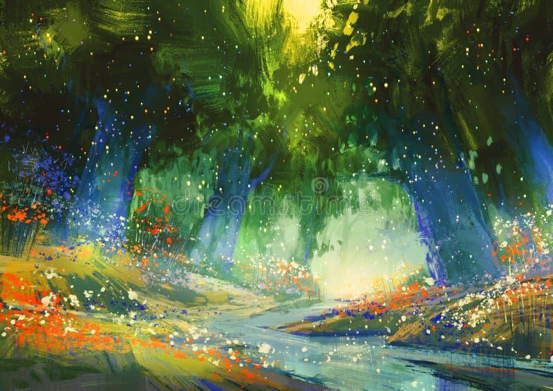 Bosque azul y verde místico ilustración del vector