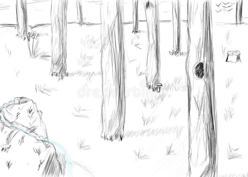 Bosque blanco y negro con una roca libre illustration