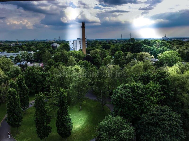 Bosque brillante agradable del ovr del cielo en Alemania por el cologne fotografía de archivo libre de regalías