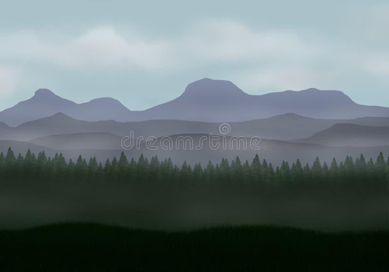 Bosque brumoso del pino con las montañas stock de ilustración