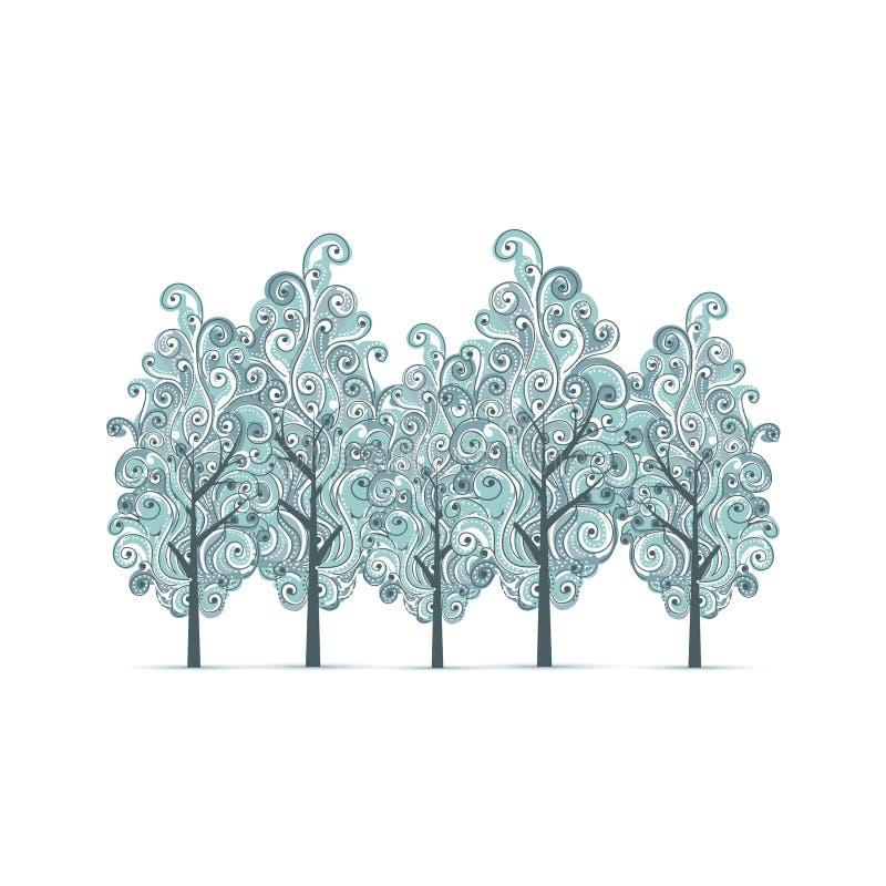 Bosque com as árvores do inverno para seu projeto ilustração do vetor