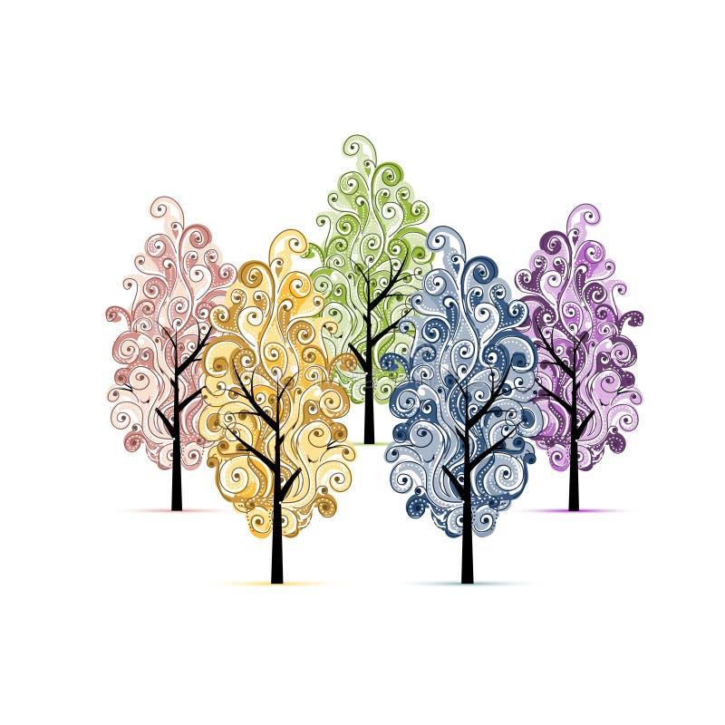 Bosque com as árvores para seu projeto ilustração royalty free