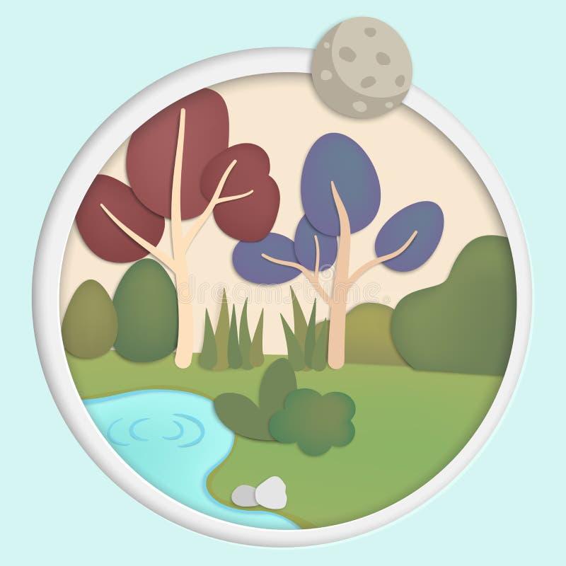 Bosque con el arbusto grande de los árboles y el estilo de papel del corte del arte de los canales de los ríos stock de ilustración