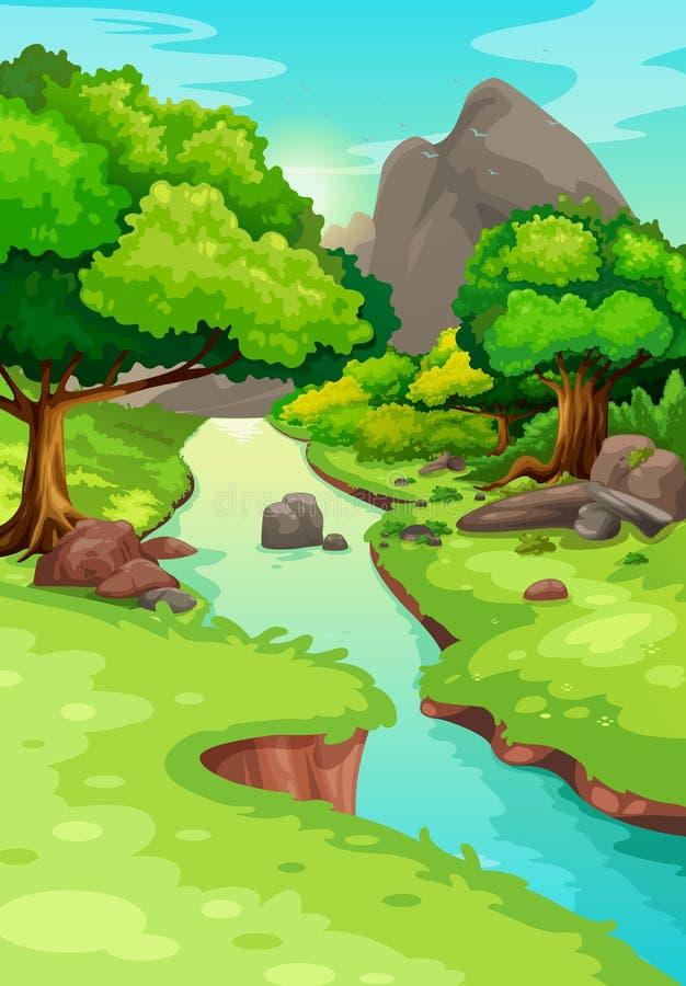 Bosque con un fondo del río ilustración del vector