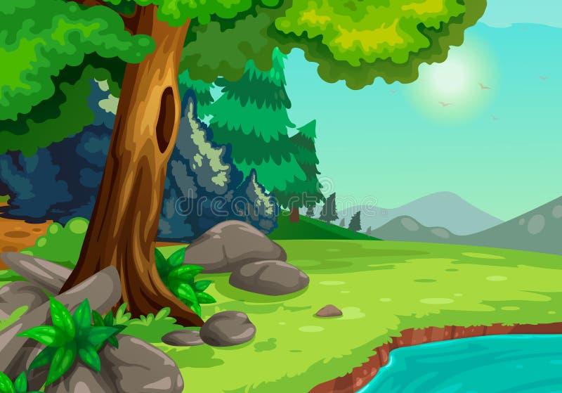 Bosque con un fondo del río stock de ilustración
