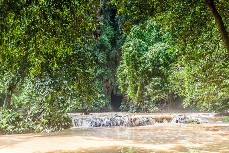 Bosque con una cueva y un río foto de archivo
