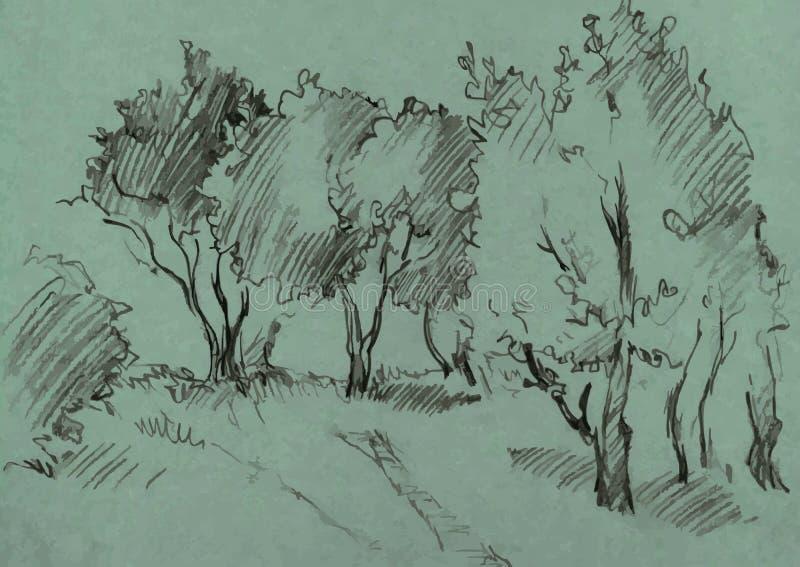 Bosque das árvores de folhas mortas ilustração royalty free