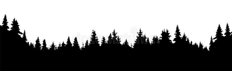 Bosque de árboles coníferos, fondo del vector de la silueta stock de ilustración