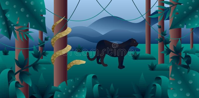 Bosque de Amazonia con la pantera y el pitón stock de ilustración