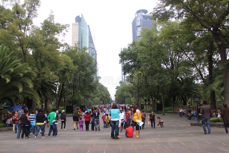 Bosque De Chapultepec pora Paseo Reforma zdjęcia stock