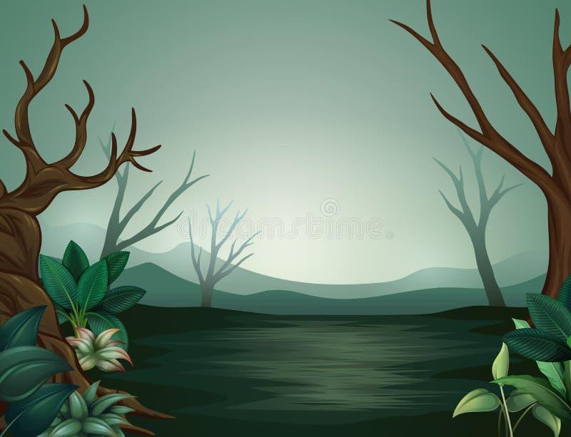 Bosque de Halloween en la noche y brumoso asustadizos ilustración del vector