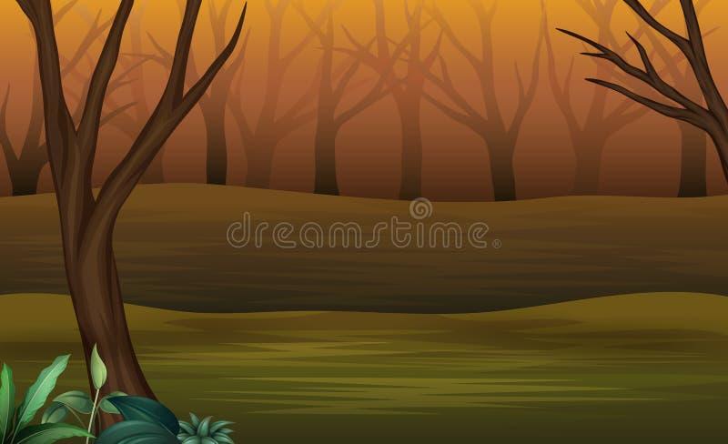 Bosque de Halloween en la tarde y brumoso libre illustration