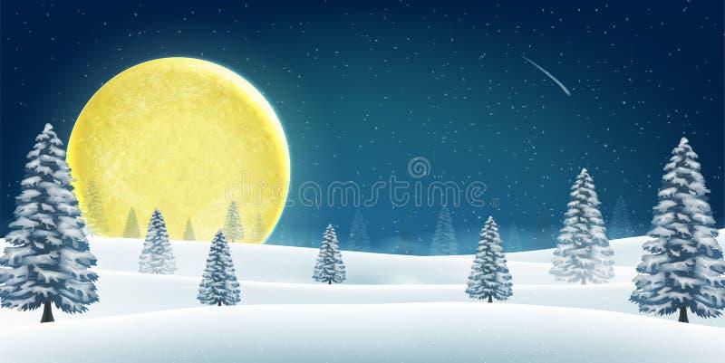 Bosque de la colina de la noche del invierno de la Navidad con la luna grande ilustración del vector