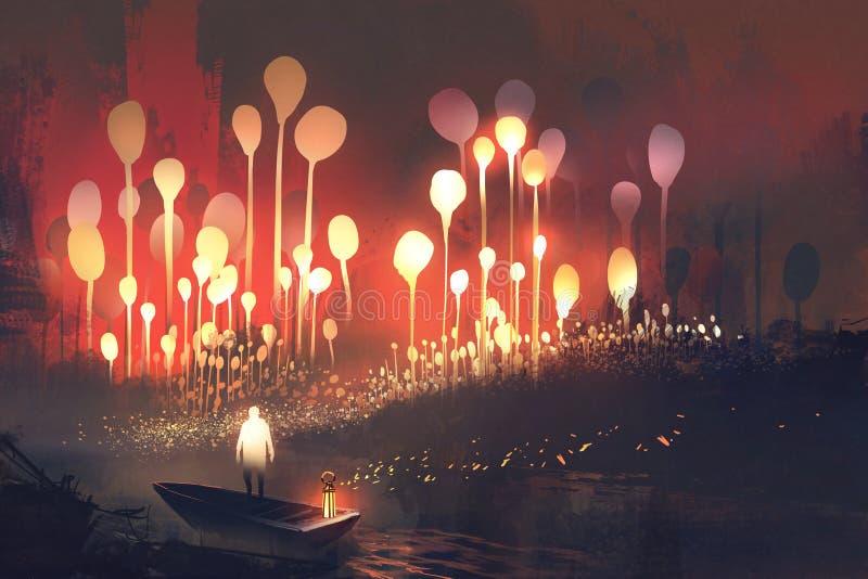 Bosque de la fantasía con los árboles que brillan intensamente y hombre en el barco stock de ilustración