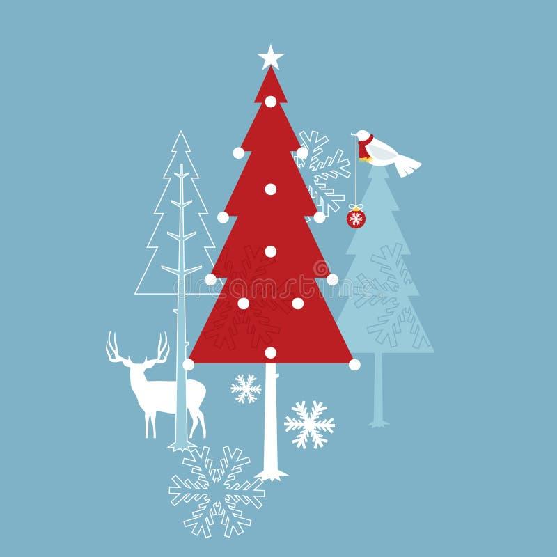 Bosque de la Feliz Navidad stock de ilustración