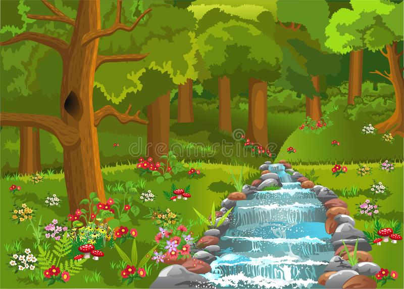 Bosque de la historieta con un río que pasa a través, con las porciones de flores todo alrededor libre illustration