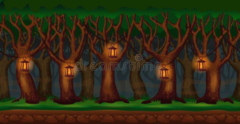Bosque de la historieta en el fondo del videojuego de la noche stock de ilustración
