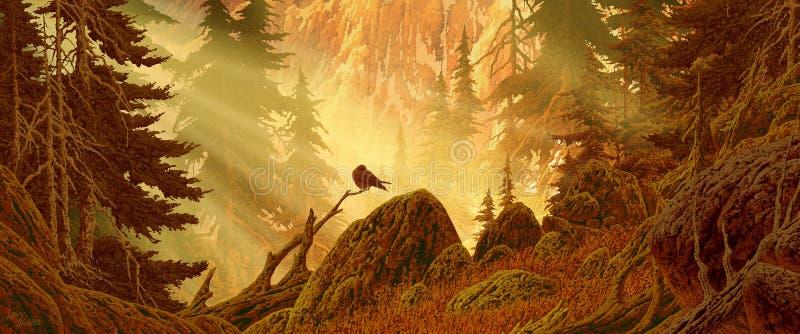 Bosque de la montaña de la cascada con el pájaro stock de ilustración