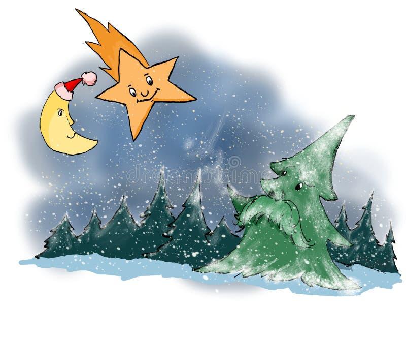 Bosque de la noche del tema de la Navidad ilustración del vector