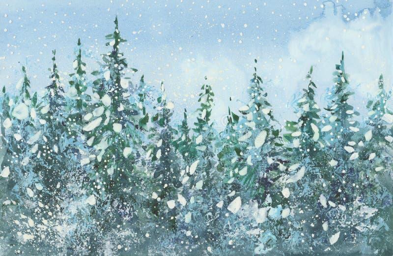 bosque de la picea de la acuarela ilustración del vector