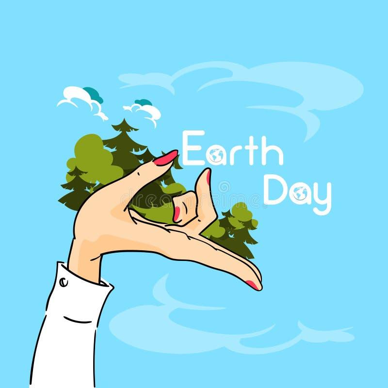 Bosque de los árboles del control de la mano de la mujer del Día de la Tierra libre illustration