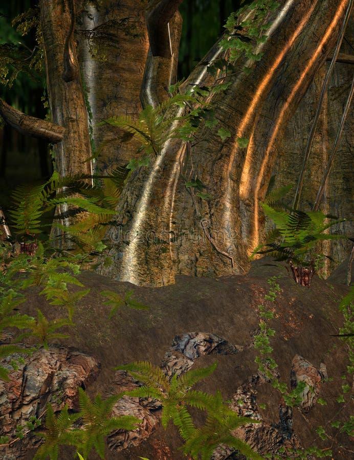 Bosque de oro encantado ilustración del vector
