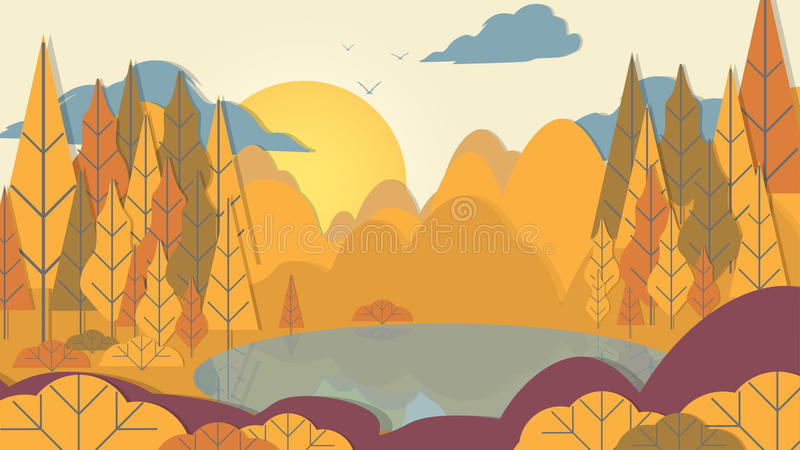 bosque del Applique del estilo del Papel-corte con el lago - ejemplo del vector stock de ilustración