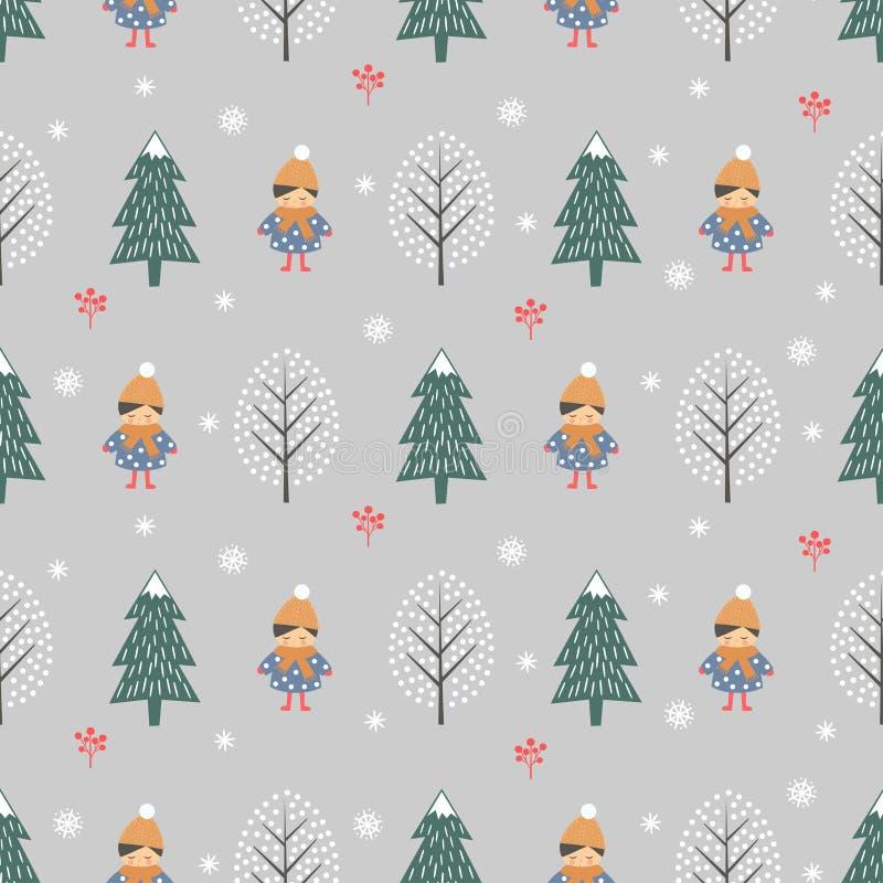 Bosque del invierno con el modelo inconsútil de la muchacha en fondo gris libre illustration