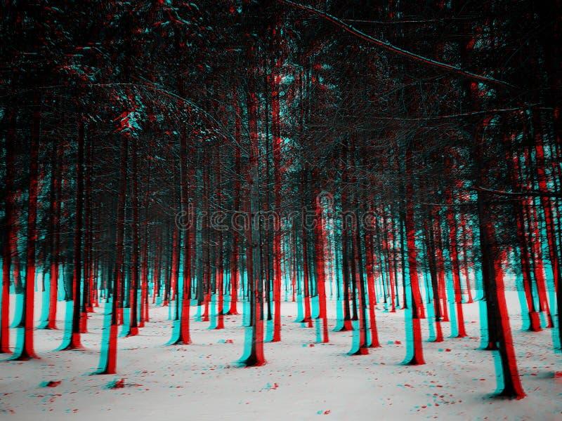 bosque del invierno 3D foto de archivo