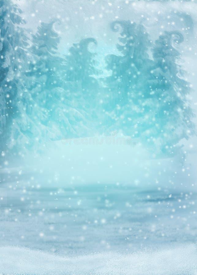 Bosque del invierno en la nieve en un color azul con los árboles mágicos y las escamas que caen de la nieve imagen de archivo