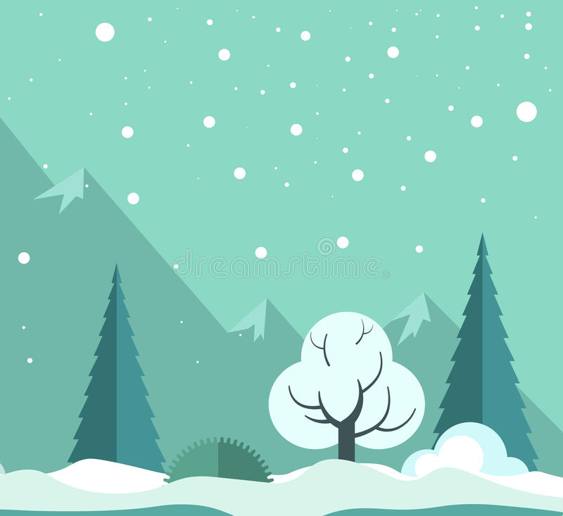 Bosque del invierno Nevado stock de ilustración