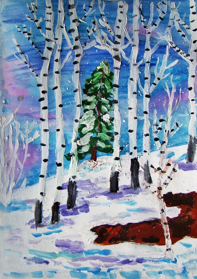 Bosque del invierno pintado por el ni?o fotos de archivo