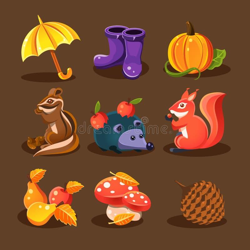 Bosque del otoño, animales del arbolado, flores stock de ilustración