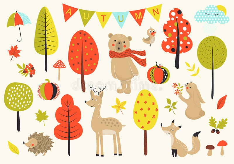Bosque del otoño en el vector fijado con los animales, las hojas, las setas y los árboles lindos del bosque en estilo de la histo stock de ilustración