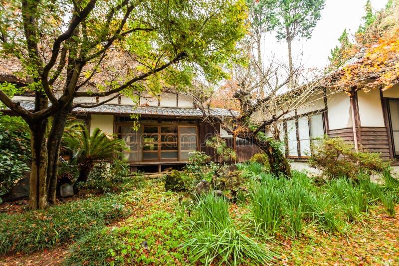 Bosque del otoño en Japón con las casas imagen de archivo libre de regalías