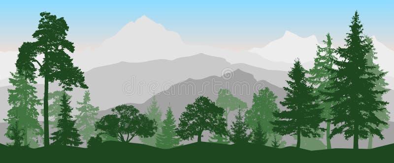 Bosque del paisaje, montañas Árboles coníferos, silueta stock de ilustración