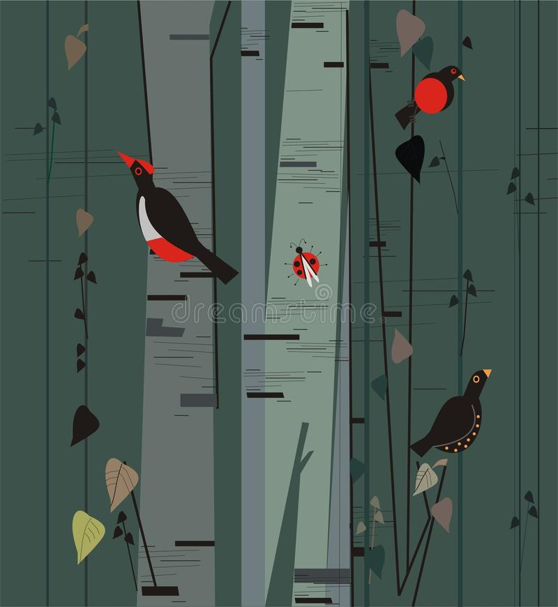 Bosque do vidoeiro com pássaros ilustração do vetor
