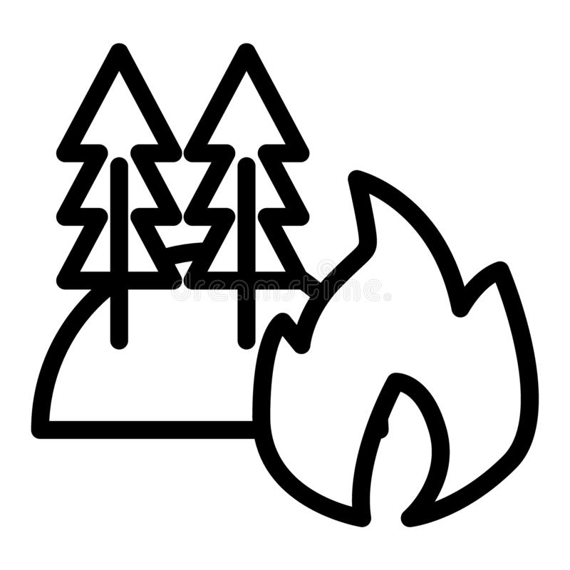 Bosque en la línea de fuego icono Fuego en el ejemplo del vector del bosque aislado en blanco Los árboles ardiendo resumen diseño ilustración del vector