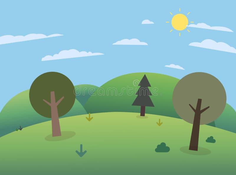 Bosque en las colinas con las montañas y el cielo grandes E stock de ilustración