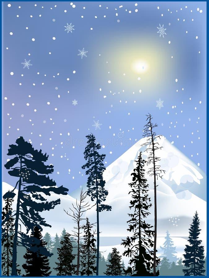 Bosque en montañas de la nieve del invierno stock de ilustración