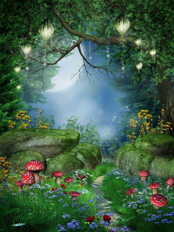 Bosque encantado con las linternas ilustración del vector