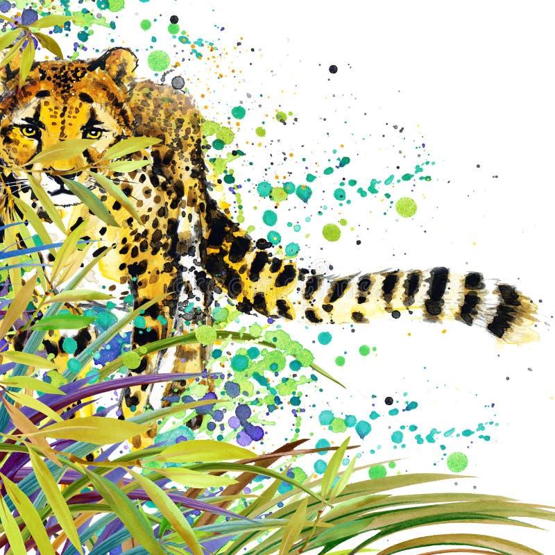 Bosque exótico tropical, hojas verdes, fauna, guepardo, ejemplo de la acuarela naturaleza exótica inusual del fondo de la acuarel stock de ilustración