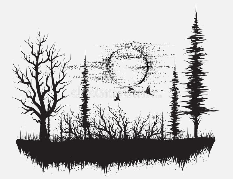 Bosque extraño stock de ilustración