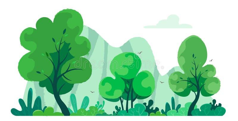 Bosque fantástico y lindo con textura en el fondo de montañas Ejemplo del vector de la naturaleza en el fondo blanco ilustración del vector